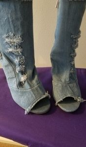 Denim booties